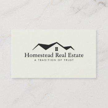 real estate house roof logo real estate agent no. business card
