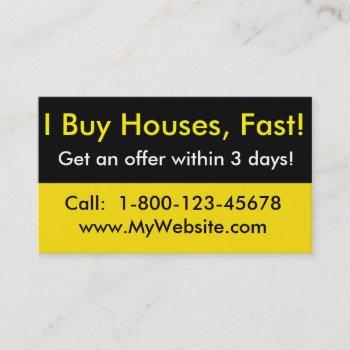 real estate investor business card - i buy houses
