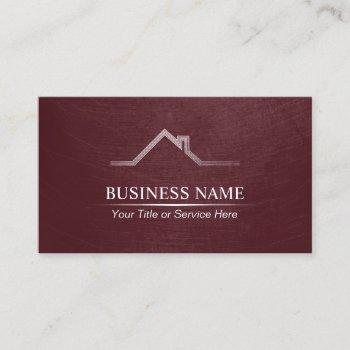 real estate professional burgundy red realtor business card