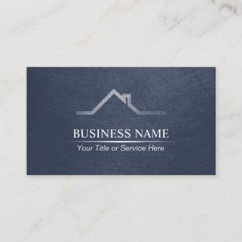real estate professional navy blue realtor business card