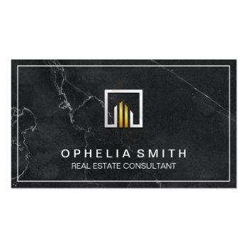 Small Real Estate | Realtor Agent | Executive Marble Business Card Front View