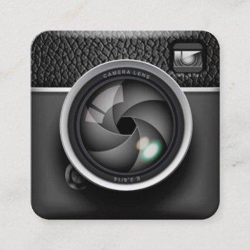 realistic camera photographer square business card