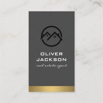 realtor  metallic trim business card