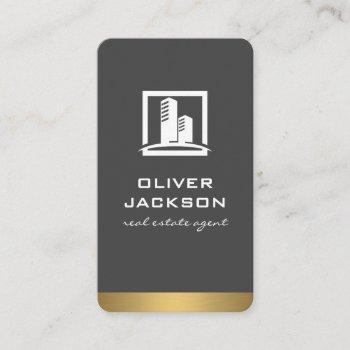 realtor metallic trim | property icon business card