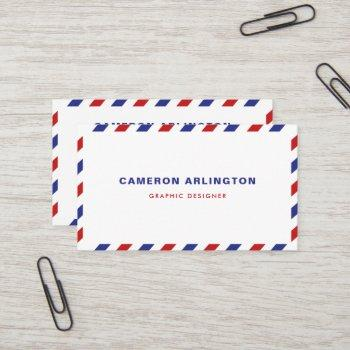 red and blue air mail envelope business card