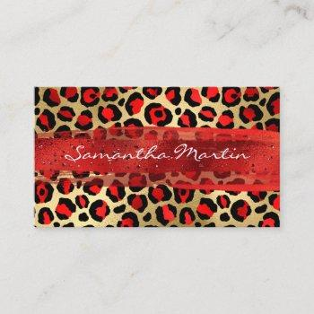 red and gold foil leopard brush stroke business card