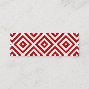 red and white granny squares mini business card