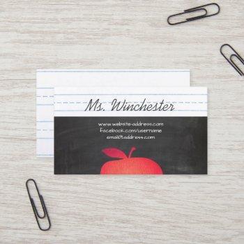 red apple grade school teacher education business card