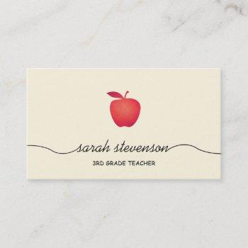 red apple school teacher simple pale yellow business card