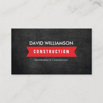 red banner construction, builder, architect logo business card