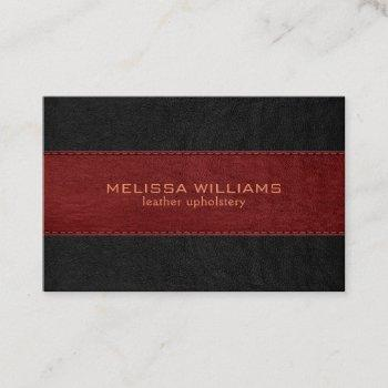 red & black stitched vintage leather texture business card