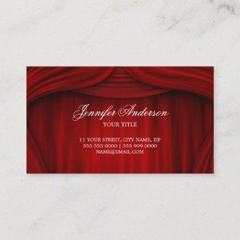 red curtains theater stage business card