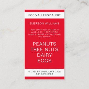 red food allergy alert personalized chef card