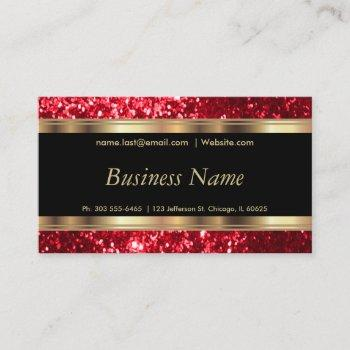 red glitter and elegant gold business card