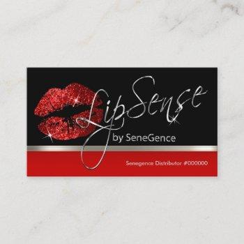 red glitter lips and silver business card