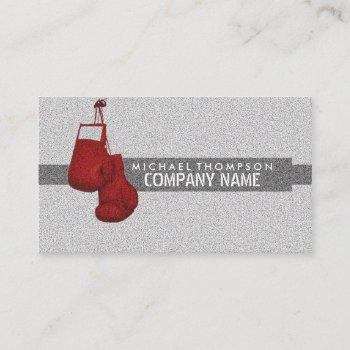 red grained boxing gloves, boxer, boxing trainer business card