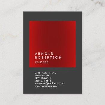 red gray trendy large professional business card