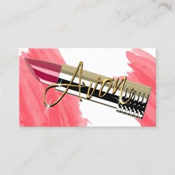 red lipstick and gold  business card