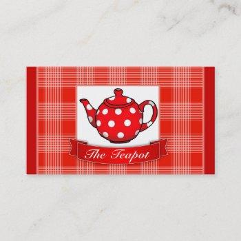 red polka dot teapot business card