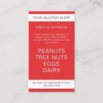 red restaurant food allergy alert kid's calling card