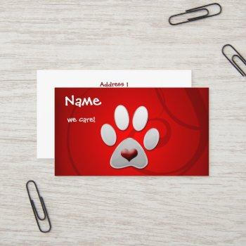 red silver  paw heart pet business card