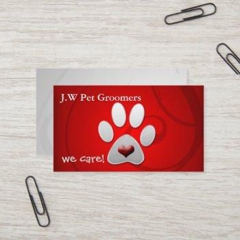 red silver paw print with a red heart business card