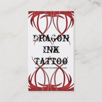 red tattoo designed business cards