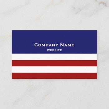 red, white and blue business card