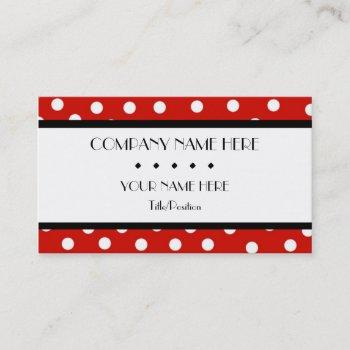 red & white polka dot business card