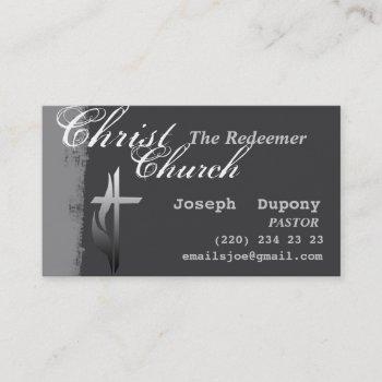 religious easter christian cross with flame business card