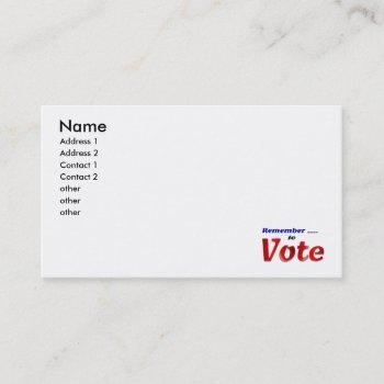 remember to vote business card