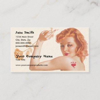 retro 1940s love business card