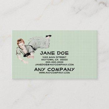 retro 1940s woman looking in a mirror business card