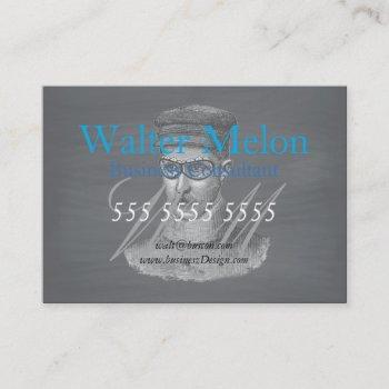 retro black chalkboard steampunk goggles man business card