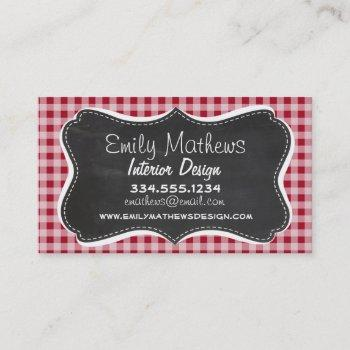 retro chalkboard; carmine red gingham; checkered business card