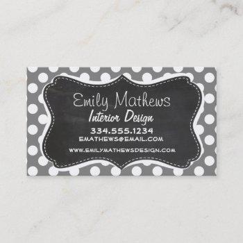retro chalkboard; dark gray polka dots business card
