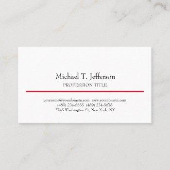 retro classical elegant plain simple white business card