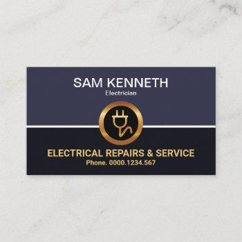 retro column faux gold power plug electrician business card