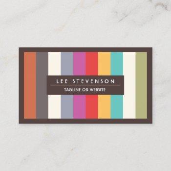 retro fun colorful multi stripes striped business card