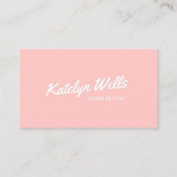 retro handwritten typography light coral pink business card