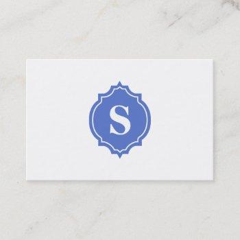 retro mirror blue monogram professional business card