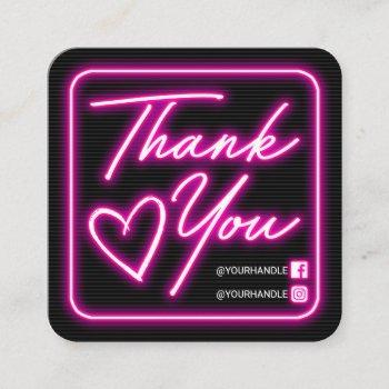 retro neon pink lighted sign customer thank you square business card