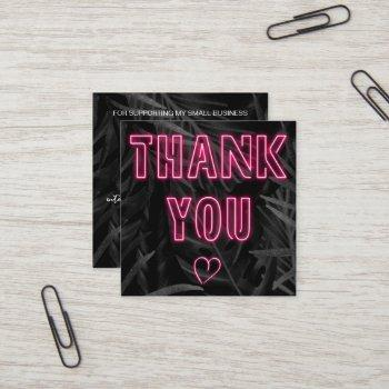 retro neon pink sign order thank you black leaf square business card