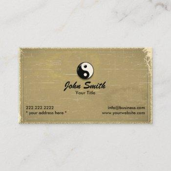 retro old paper yin yang business card