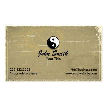 Small Retro Old Paper Yin Yang Business Card Front View
