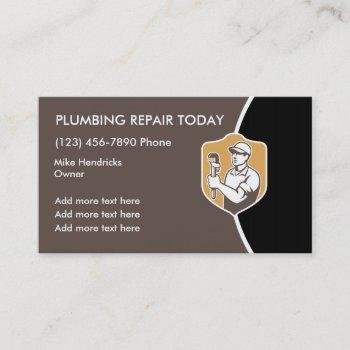 retro plumbing design business card