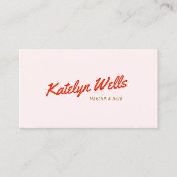 retro red handwritten script typography pink business card