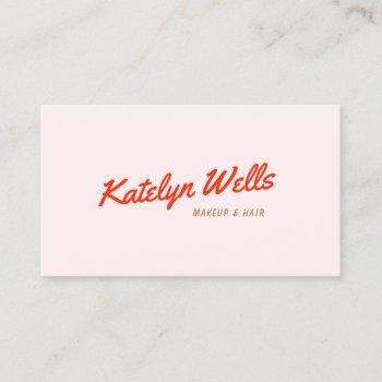 retro red handwritten script typography pink business card