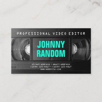 retro tech vhs black white business card