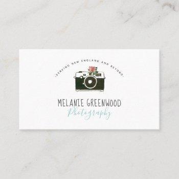 retro watercolor camera photographer business card